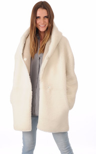 Manteau peau lainee femme beige