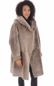 Manteau peau lainée taupe1