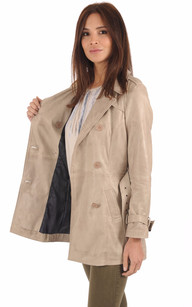 Trench Cuir Gris Clair