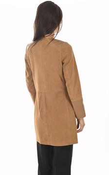 Veste Cuir bi-matière camel