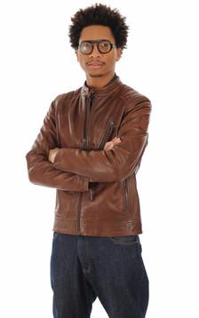 Blouson V-Racer en cuir marron
