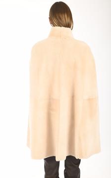 Cape peau lainée beige