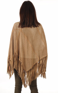 Poncho Cuir Velours Beige