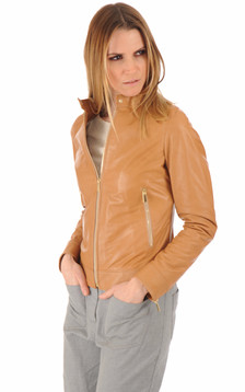 Blouson en cuir agneau camel