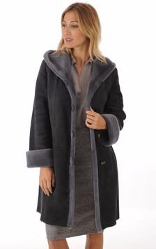 Manteau peau lainée mérinos bleu