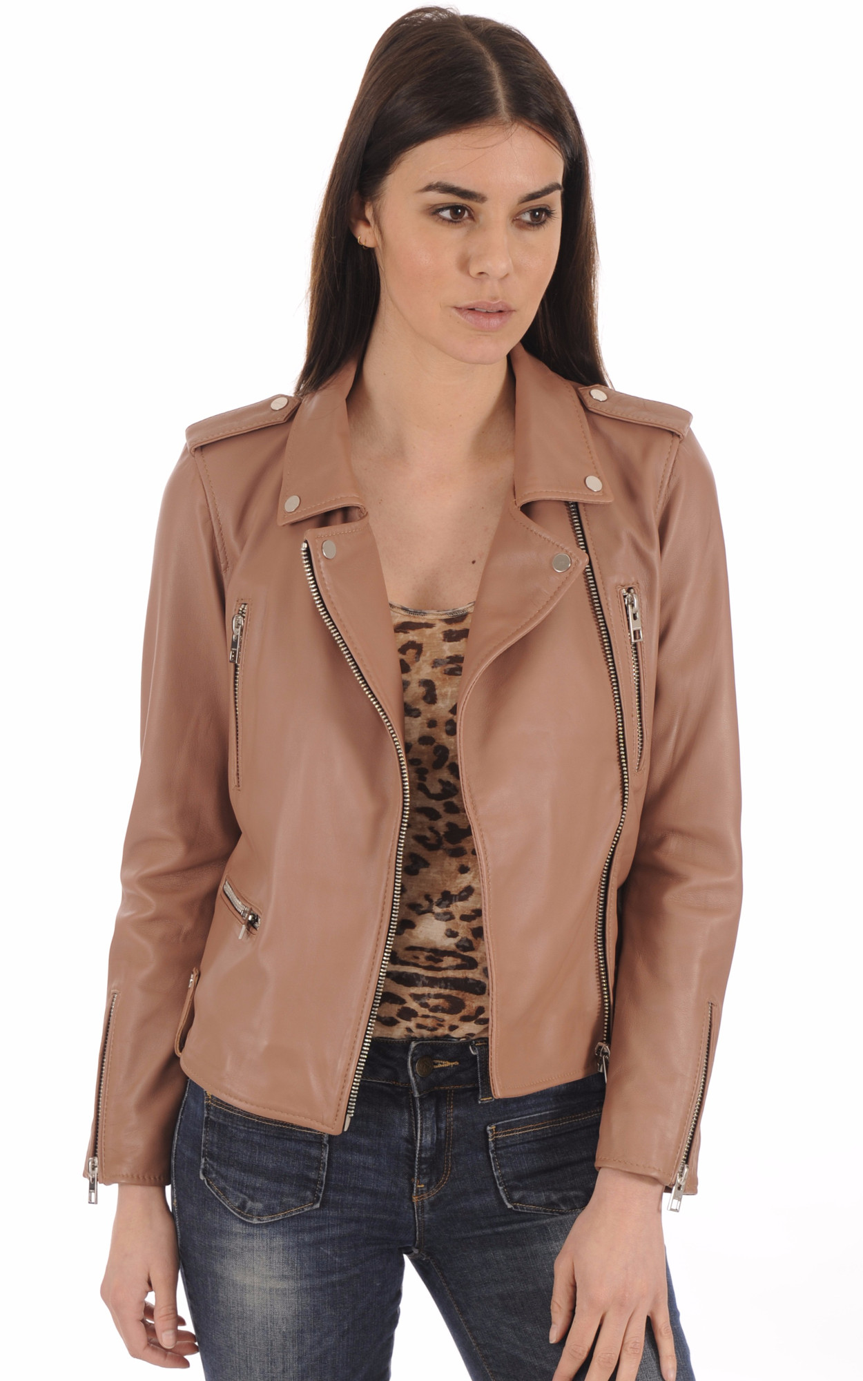 Perfecto Cuir Vieux Rose Femme1