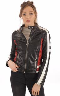 Blouson  Femme Cuir noir Racing1