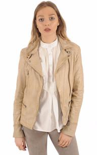 Blouson Cuir beige clair Style Perfecto1
