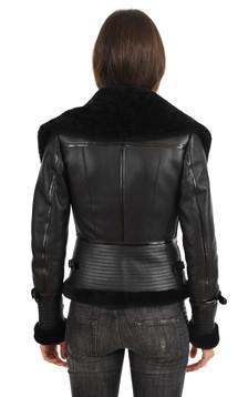 Bombardier Femme en Agneau Noir