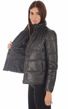 Doudoune courte cuir femme