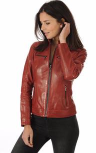 Blouson Cuir Rouge Style Motard1