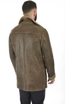Caban peau lainée vieilli marron
