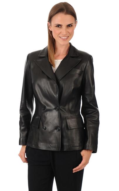 blazer cuir femme lou andrea la canadienne veste 3 4 cuir noir. Black Bedroom Furniture Sets. Home Design Ideas