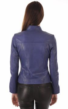 Blouson Cuir Femme Bleu