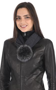 Bonnet laine et renard gris foncé
