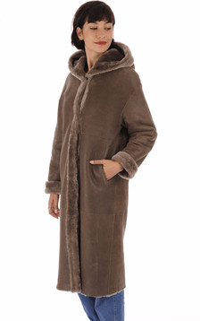 Manteau long réversible mérinos taupe1