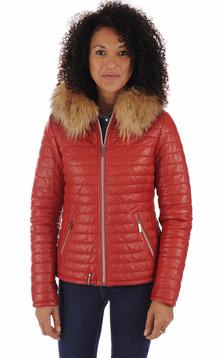 Doudoune fine cuir rouge femme1