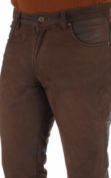 Pantalon vachette nubuck marron