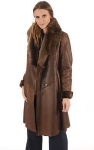 Manteau en Agneau de Toscane Marron Femme1