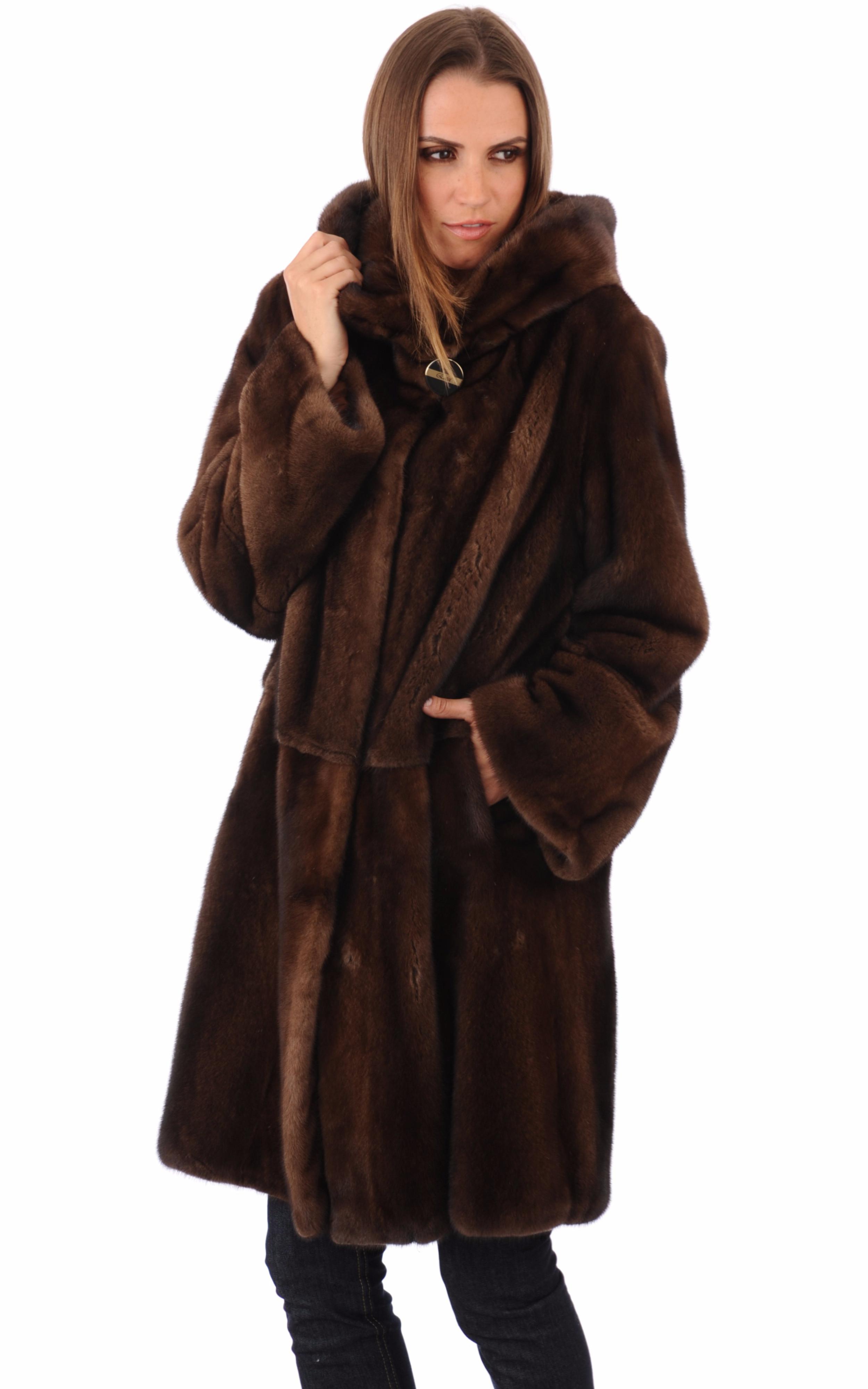 manteau pleine peau vison la canadienne la canadienne manteau 7 8 fourrure scanbrown. Black Bedroom Furniture Sets. Home Design Ideas