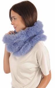 Snood Fourrure Renard Bleu1