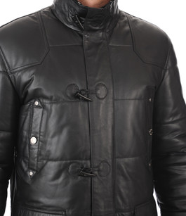 Doudoune Longue en Cuir Noir Giorgio