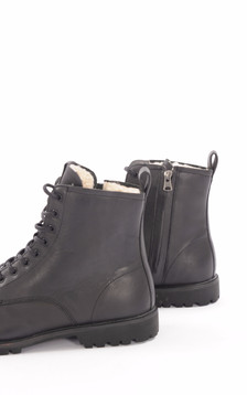 Boots Cuir Noir Fourrées Mouton