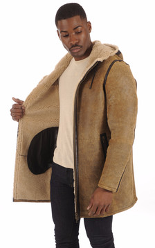 Veste longue Mouton Patiné Homme
