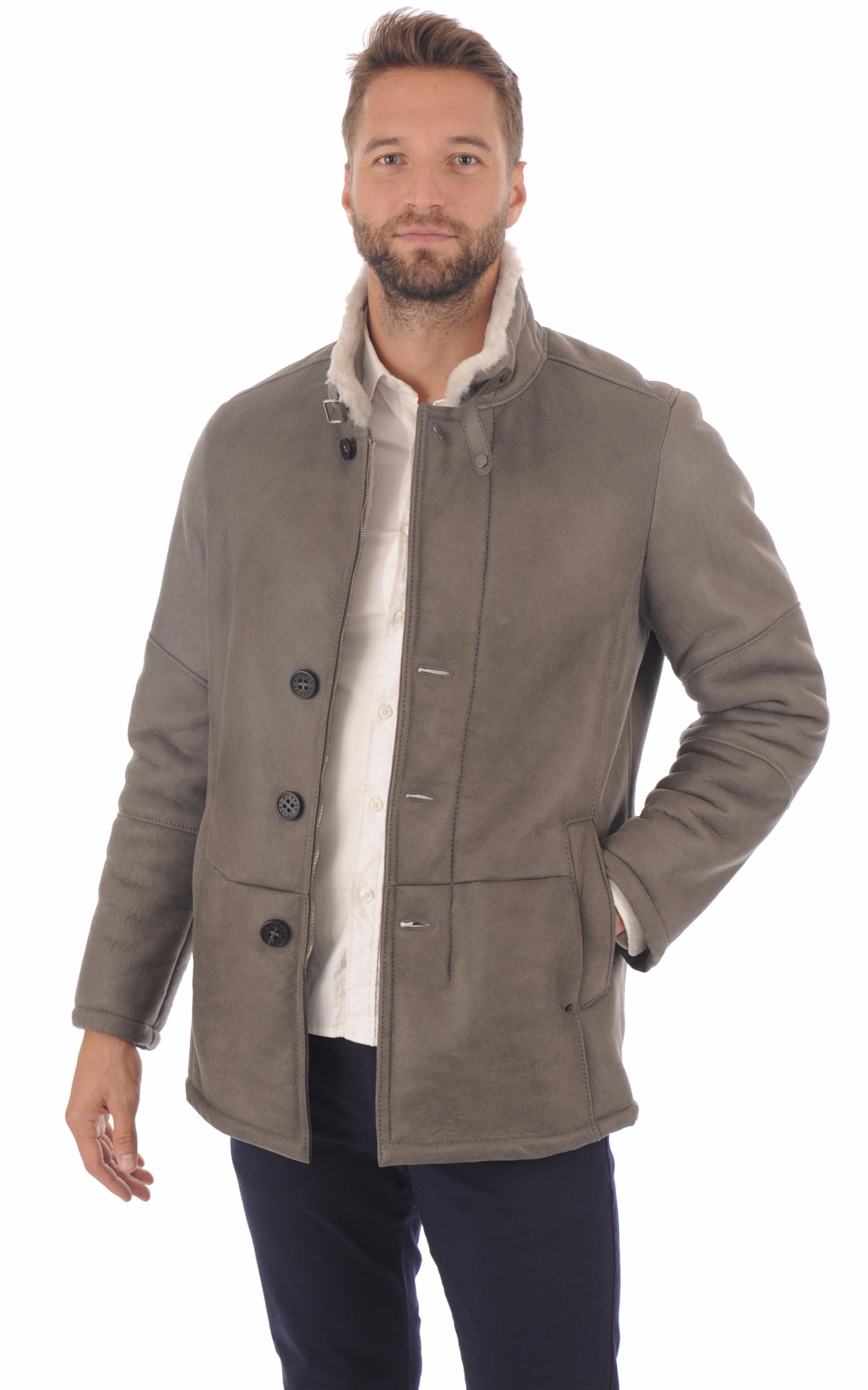 Veste peau lainé grise entrefino Christ