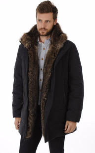 Manteau homme marron fourrure