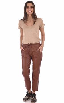 Pantalon jogpant cuir fauve