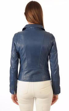 Blouson en cuir Lovely bleu