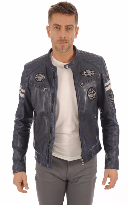 f4eae78cca4 Blouson Motard Bleu Jeans Homme