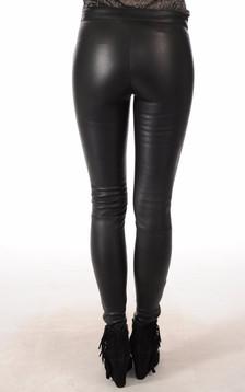 Legging Cuir Agneau Noir