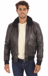 Veste en cuir buffle skipper marron chocolat pour homme