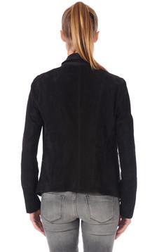 Veste Cuir Velours noir