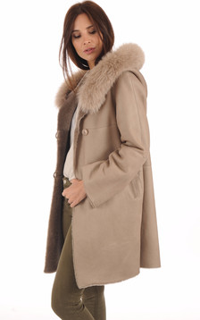 Manteau Mérinos Velours Sable