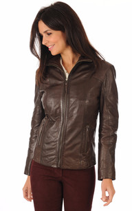 Blouson Cuir Confortable Marron1