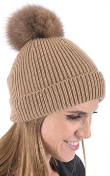 Bonnet cachemire et renard camel