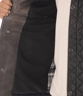 Veste Elégante Cuir Matelassé Noir La Canadienne