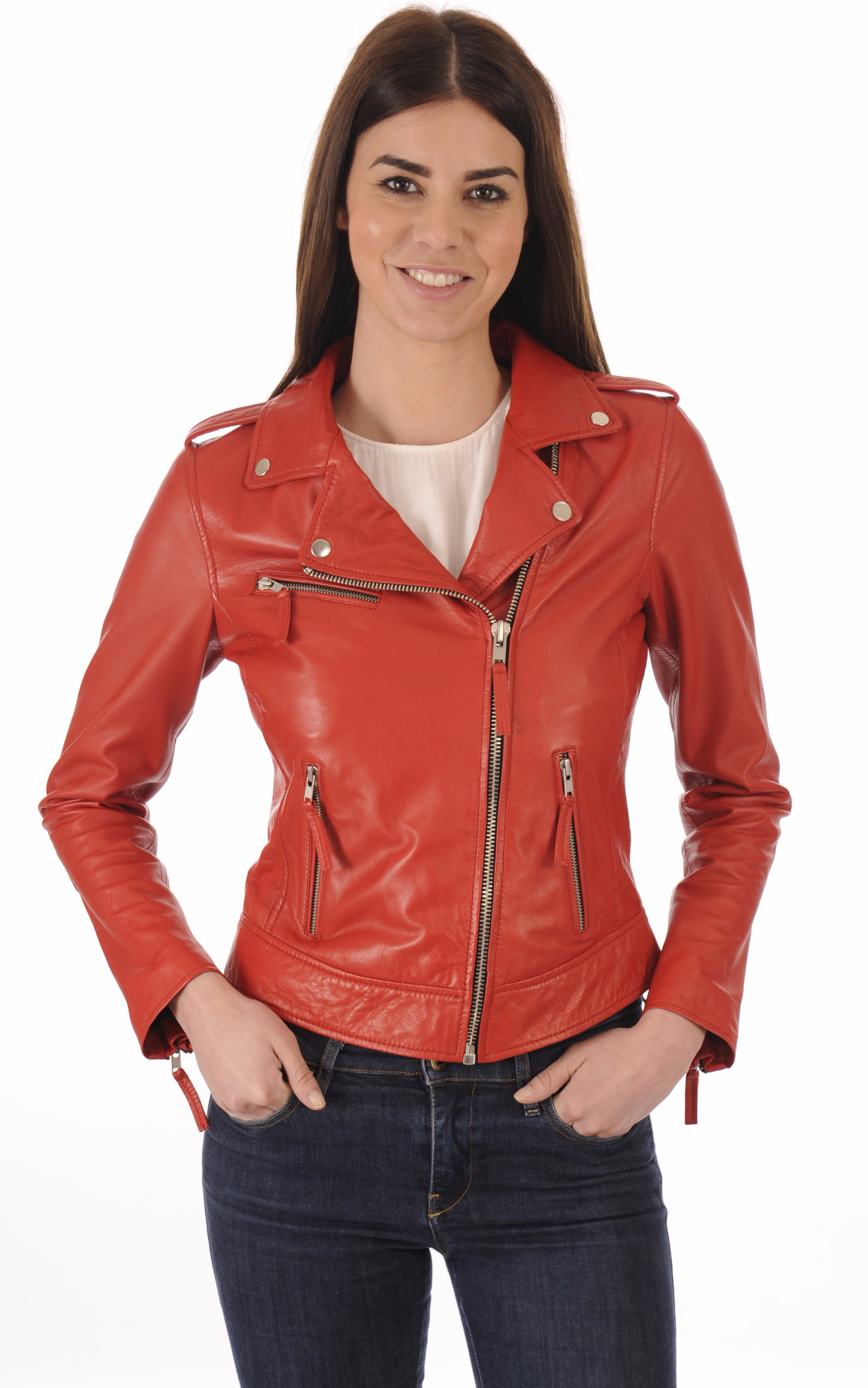 Perfecto Cuir Agneau Rouge Femme La Canadienne