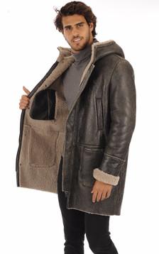 Manteau peau lainée vieillie