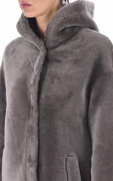 Manteau peau lainée mouton taupe