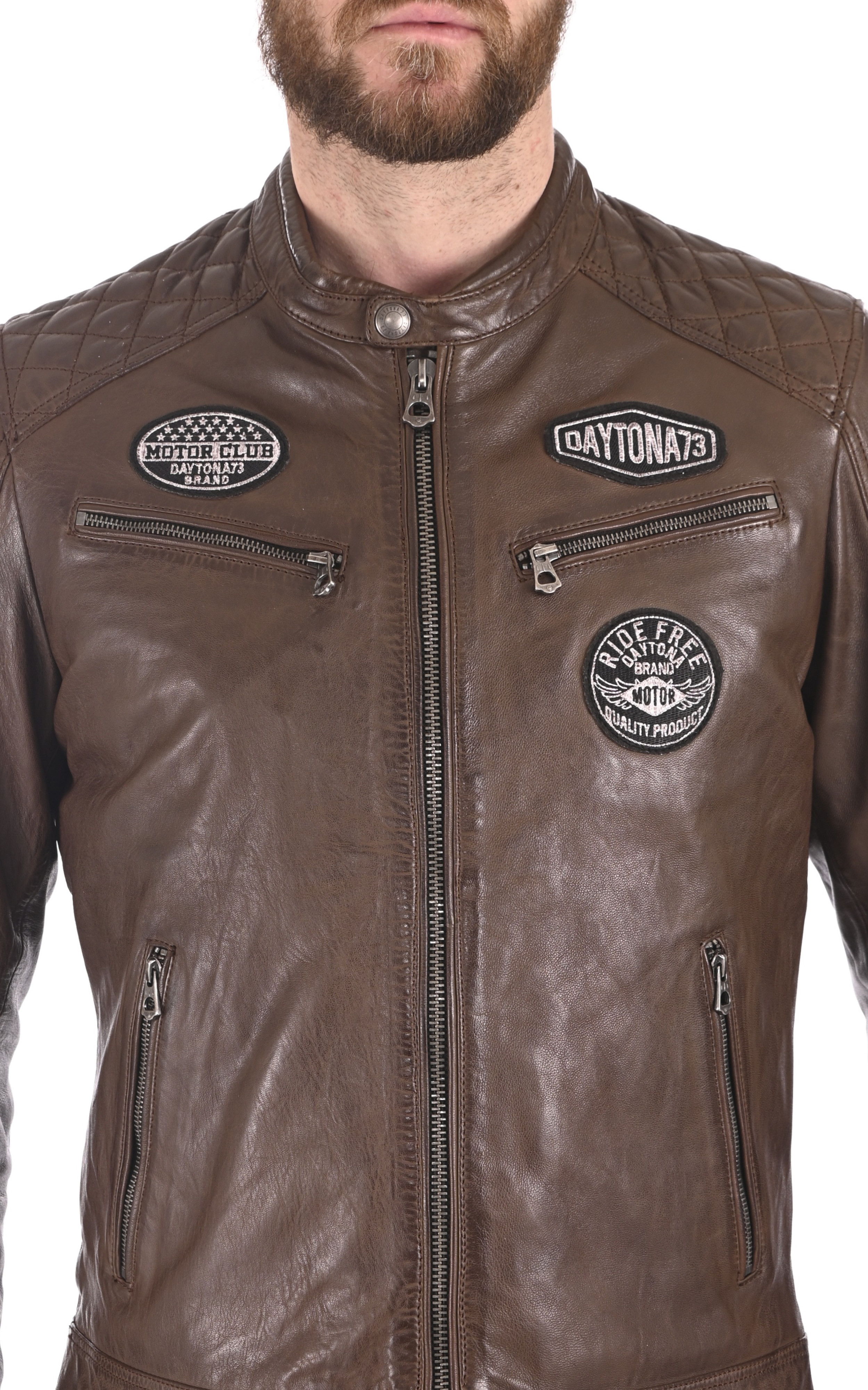 Blouson motard marron Daytona 73