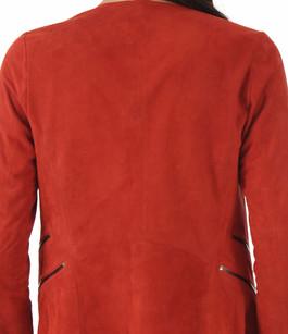 Veste Ouverte Cuir Velours Rouge Giorgio