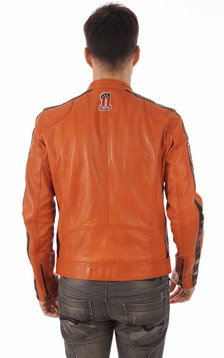 Blouson Cuir Orange Style Motard