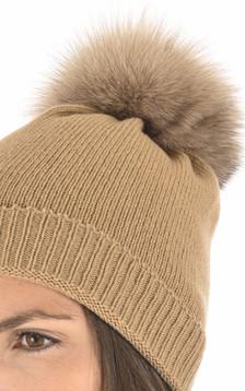 Bonnet en laine et cachemire camel