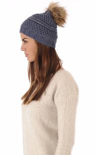 Bonnet Bleu Laine avec Pompon Fourrure1