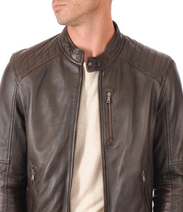 Blouson Cuir Style Motard Marron Oakwood