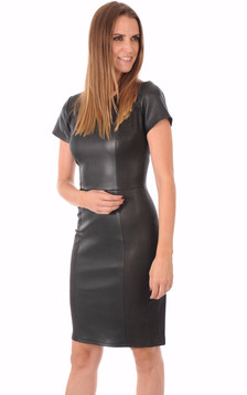 Robe Cuir Stretch Noir Reptile1
